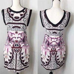 Maje Sleeveless Printed Linen Silk Blend Dress
